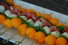 Melon, Prosciutto and Blue Cheese Skewers