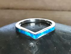 Blue Lab Opal Heart Clover Flower Simple Ring Sterling Silver Band Sizes 5-10