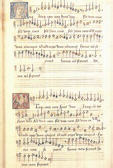 "A page from Anne Boleyn's music book. She used it as a young girl in Belgium and France, but it may have previously belonged to her father as it bears his motto ""know thus""."