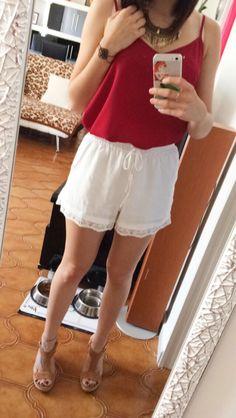 Tenue 1 #short #top #blanc #bordeau #nafnaf #newlook #shoes #minelli