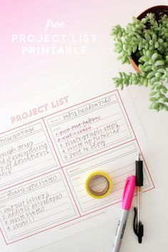workspace wednesday | free project list printable.
