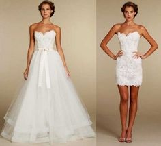 WA0406 Romantic lace beaded wedding dresses with detachable train $175.00