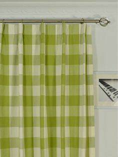 This is a traditional design with modern elements added. Uniform mid-scale checks suggest a fresh and relaxed setting. They are extra long curtains. Panels measure in 50 inch wide, 100 inch wide, 108 inch long and 120 inch long. Types Of Curtains, Cool Curtains, Floral Curtains, Green Shower Curtains, Brown Curtains, Recessed Shower Lighting, Baby Boy Nursery Decor, Nursery Design, Nursery Ideas