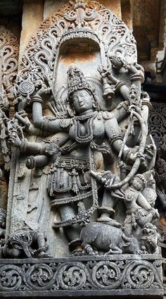 Goddess Durga, the consort of Lord Shiva, slaying the buffalo demon Mahisha. Indian Temple Architecture, Ancient Architecture, Shiva Art, Hindu Art, Ancient Indian Art, Ancient Art, Hindu Deities, Hinduism, Angkor