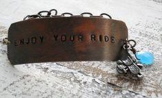 """Enjoy your ride."" - Chris Ledoux Diy Jewelry Stamping, Stamped Jewelry, Metal Stamping, Metal Jewelry, Jewelry Box, Handmade Jewelry, Jewelry Making, Really Cute Quotes, Ledoux"