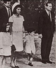 Prince Philip, duke of Edinburgh, with Jacqueline Kennedy, little Caroline and John Jr and Ted Kennedy.