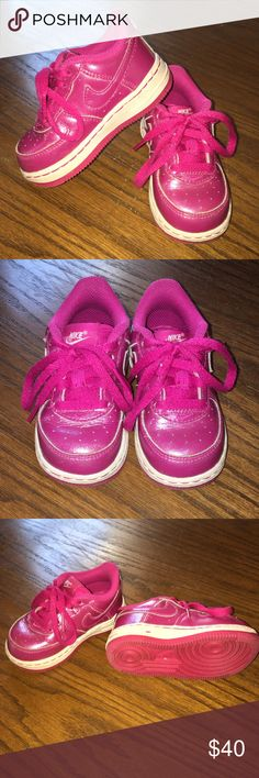 """""""Nike"""" Air Force 1 Low Toddler Size6 Pink Sneakers """"""""Nike"""" Air Force 1 Low Toddler Size6 Pink Sneakers • Solid Sneakers • Comfortable ➡️ Note: Pink """"Nike"""" wording on the bottom sides is rubbing off just a bit - not too noticeable. Still Very Good Condition!!  ➡️ NOTE: 1st photo is a stock photo - the rest are mine. Nike Shoes Sneakers"""