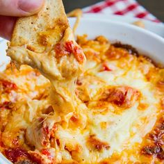 4 Cheese Hot Roasted Red Pepper Dip Recipe Appetizers with roasted red peppers, smoked paprika, cream cheese, manchego cheese, parmigiano reggiano cheese, mozzarella cheese, pepper
