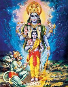 Hanuman pray to Vishnu incarnation (Ram)
