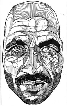 Ink Drawings of Luke Dixon. Various shapes in face (movement)