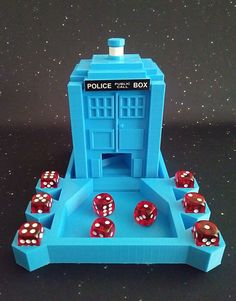 Doctor Who TARDIS Dice Tower With Tray & Dice Holder Spiral Staircase 3D Printed #HomeMade 4th Doctor, Doctor Who Tardis, Dr Who Games, Doctor Who Decor, Dice Roller, Doctor Who Comics, Dice Box, Classic Doctor Who, D&d Dungeons And Dragons