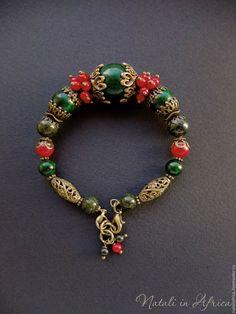 """Купить Браслет """"Ягодки"""" - коралл натур. и пресс., змеевик, поделочный камень - красный браслет"""