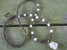 White Feldspar and Wood Necklace with Buddha by Stone and Stem  #tibetanjewelry #dorje #buddha #boho