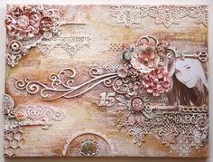 Mixed Media Canvas by Gabrielle Pollacco using Dusty Attic Chipboard. Click on photo to get to blog & video tutorial. #Mixed Media #Video Tutorial #Dusty Attic #Tresors De Luxe #Bo Bunny #Gabrielle Pollacco