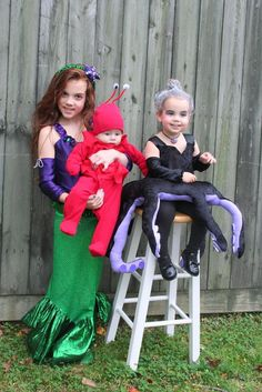 The little mermaid themed family halloween costumes halloween little mermaid cute idea but the poor kid that gets stuck being ursula solutioingenieria Images
