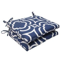 Pillow Perfect IndoorOutdoor Carmody Squared Seat Cushion Navy Set of 2 >>> Read more reviews of the product by visiting the link on the image.-It is an affiliate link to Amazon. #DecorativePillowsInsertsCovers
