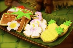 Stunning decorated sugar cookies at a Hawaiian Luau party!  See more party ideas at CatchMyParty.com!