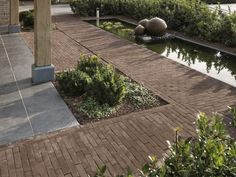 Classic brick with contemporary grey slabs. Garden Paving, Terrace Garden, Water Garden, Garden Landscaping, Dream Garden, Home And Garden, Outdoor Walkway, Contemporary Garden Design, Water Features In The Garden