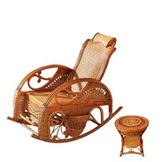 Natural bamboo - rattan wicker rocker set / rocking chair suite / longue / relax chair / seat / settee / seater / couch / chair / coffee table / tea table / teapoy / side table / end table