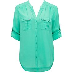 Forever New Mandy roll sleeve tab shirt (715 MXN) ❤ liked on Polyvore featuring tops, blouses, shirts, t-shirts, blusas, roll sleeve blouse, collar blouse, green blouse, shirt blouse and green shirt