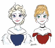 Queen Elsa and Princess Anna - Disney's Frozen ❄️ Disney Pixar, Disney Fan Art, Disney And Dreamworks, Disney Cartoons, Disney Love, Walt Disney, Frozen Love, Frozen Fan Art, Frozen Elsa And Anna