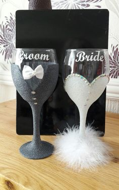 Bride and Groom Glitter Wine Glasses Bride and Groom Glitter Wine Glasses Bridal Wine Glasses, Glitter Wine Glasses, Diy Wine Glasses, Decorated Wine Glasses, Painted Wine Glasses, Diy Wedding Glasses, Glitter Wine Bottles, Custom Wine Glasses, Glitter Gifts
