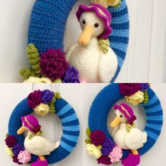 A crocheted wreath.My first design, I cant believe I only started crocheting January this year. Although I folllowed a pattern from simply crochet, to do the wonderful duck. I just made some minor adjustments.
