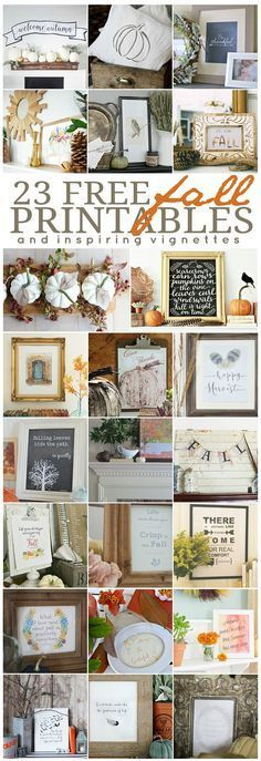 23 inspiring free fall printable. Perfect fall art or frame and give as a hostess gift. Tons of beautiful fall decor ideas. http://eclecticallyvintage.com/2015/09/give-thanks-free-fall-printable/