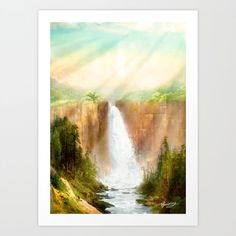 Beyond the Waterfall, by Diogo Veríssimo  #dverissimo #nature #fantasy #wallart #illustration #print #vintage #painting #collage #scenic #nature #landscape  #beauty #spring #river #waterfall #canyon #woods #forest #trees #sun #sky #horizon