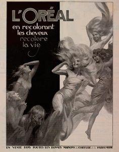 Vintage Hairstyles Vintage L'Oreal Ads - Harper's BAZAAR - A look back at some of L'Oréal's iconic images and vintage ads. Vintage Advertisements, Vintage Ads, Vintage Posters, Vintage Trends, Creative Hairstyles, Retro Hairstyles, Art Deco Posters, Poster Prints, Art Nouveau