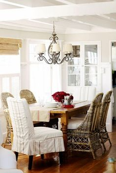 Mixed seating, upholstery & cane - beach cottage inspired dining room