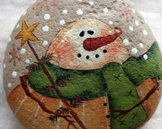 Snowman with Tree and Star Wand Decorative Stone Handpainted Snowman decor Winter Home Decor Cabin Snow Holiday decor Snowman Decorations, Snowman Crafts, Christmas Decorations, Christmas Ornaments, Stone Crafts, Rock Crafts, Pebble Painting, Pebble Art, Pebble Mosaic