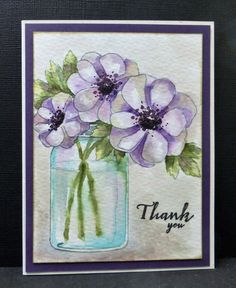 Colors for today are: Elegant Eggplant, Bermuda Bay, Old Olive.  No dessert for me.  This card is also for PTI's Release Week Challenge. I was inspired by [url=http://lilybeanpaperie.typepad.com/.a/6a00d83451de2169e201bb08d5afdd970d-pi]Melissa Phillips' bouquet[/url], but put mine in a glass jar since they will be introducing floral bouquets to go into the already released Mason jar stamps.  TFL