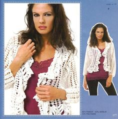 Delicacies in crochet Gabriela: 80 Free Patterns: Blouses excellent variety of models Crochet Jacket, Crochet Blouse, Knit Crochet, Crochet Gratis, Crochet Clothes, Free Pattern, Crochet Patterns, Knitting, Coat