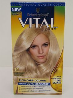 3 x Schwarzkopf Vital Colors Permanent Hair Colour 11 Light Blonde ** Continue to the product at the image link.