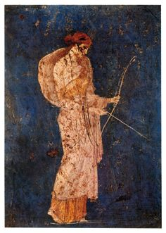An ancient Roman fresco depicting the goddess Diana, the huntress, recovered from Vesuvian ash in Stabiae; she holds her symbolic attributes of a bow and arrow.