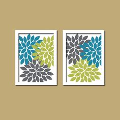 Bold Colorful Turquoise Green Navy Floral Flower Burst Set of 2 Prints Wall Decor Abstract Art Bedroom Bathroom Nursery Picture Crib