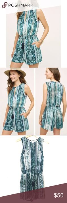 3402fd493323 Shorts romper with front tie tassels and back hole cut out by Elevenses for  Anthropologie. 100% polyester Size XS No models or trades. Approximate ...