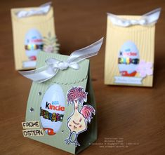 Ü-Ei Verpackung mit dem Papierschneider und der Big Shot gebastelt Osterverpack. Egg package made with the paper cutter and the Big Shot Easter packaging Stampin 'Up! Big Shot, Egg Packaging, Fun Crafts, Paper Crafts, Diy Gifts For Kids, Diy Art Projects, Scrapbooking, Easter Party, Easter Treats