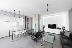 Unterhaltung-Konsole die Speicherung in Kaktus in ein schwarz-weiß Wohnzimmer Gestaltung Wohnung minimalistischen Andreja Bujevac 21 schwarz und weiß (10)