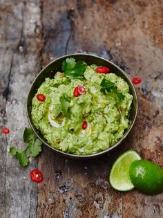 Jamie's classic guacamole - a perfect (and super quick to make) accompaniment for your chilli or other mexican dishes.