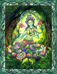 "Green Tara is the Tibetan Goddess of Compassion. ""Om Tare Tuttare Ture Swaha"" is a Tibetan Buddhist invocation to call upon the Divine Feminine in the form of Green Tara, to alleviate the suffering of all, to bring compassion and fierce grace to all who are oppressed, and to their oppressors."