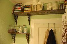 Bedroom/Bathroom  shelves around doors to help with small space storage