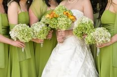 Perfect late spring/early summer #wedding bridal bouquet collection - green & white hydrangeas + calla lilies♥