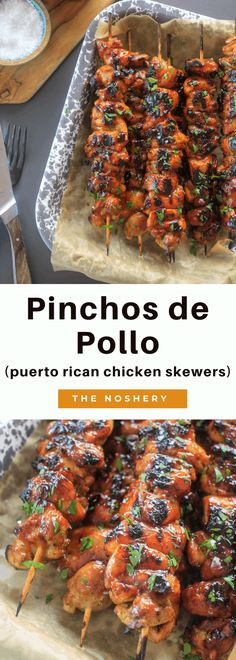 Pinchos de pollo are one of my favorite street foods from home. The marinated chicken lightly brushed with a sweet bbq sauce and grilled to perfection. Marinated Grilled Chicken, Grilled Chicken Recipes, Puerto Rican Chicken, Grilling Recipes, Cooking Recipes, Mexican Food Recipes, Ethnic Recipes, Winner Winner Chicken Dinner, Chicken Skewers