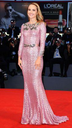 Venice Film Festival 2016's Best Red Carpet Moments - Suki Waterhouse in a pink Dolce & Gabbana lace dress