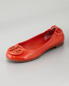 Reva Tonal Logo Ballerina Flat, Flame Red by Tory Burch at Neiman Marcus.