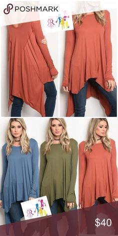 """Rust - """"Put Me On"""" Comfy Top Long Sleeve Relaxed Fit Tunic; uneven hemline and crew neck; 95% Viscose, 5% Lycra; Color: Rust Tops Tunics"""