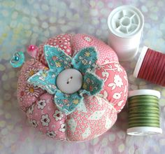1930's Inspired Patchwork Tomato Pincushion In Pink and Red -
