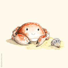 Alphabet animals, Nursery room decor, C is for Crab, Watercolor painting, Nursery Art Print, Nursery wall art, 8x10, cute crab illustration